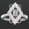 antique jewelry, estate jewelry and vintage jewelry by Adin, Antwerp: Most elegant French Art Deco engagement ring with diamonds and sapphires