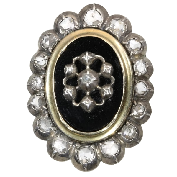 Antique jewelry Victorian rose cut diamonds brooch