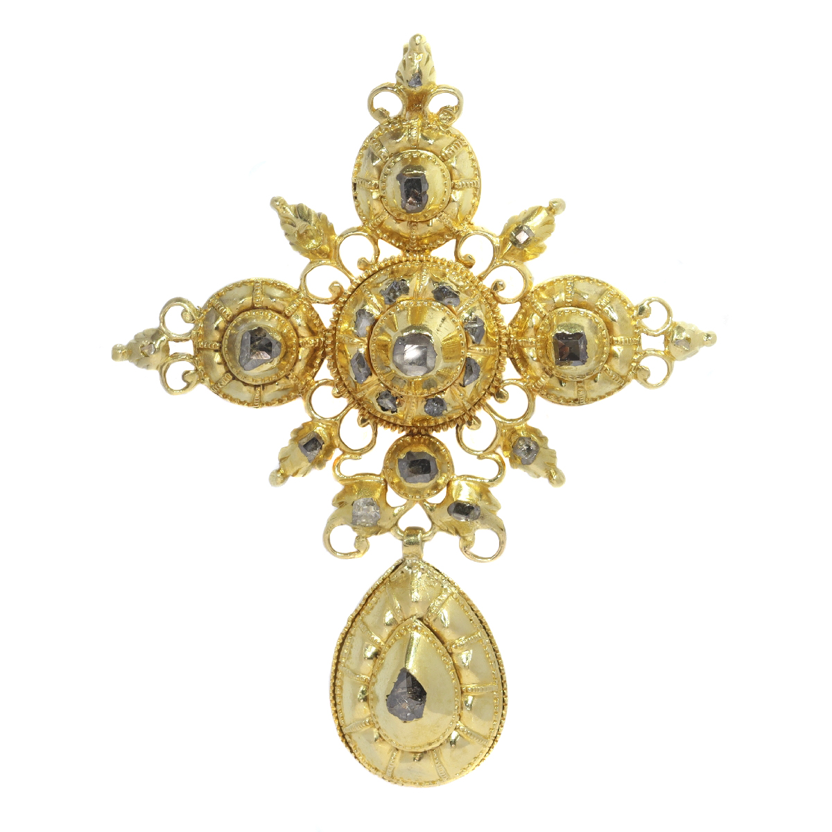 Genuine 17th Century Baroque gold and diamond cross