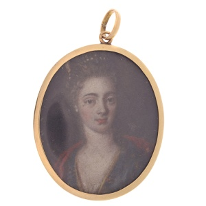 Georgian painted miniature in red gold pendant