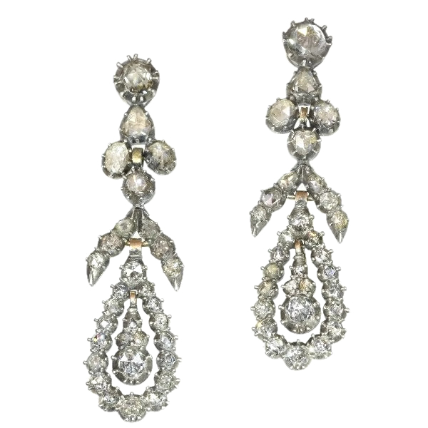 Victorian diamond dangle chandelier earrings 18kt rose gold