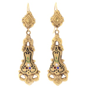 Antique floral enamel dangle earrings yellow gold, Victorian era