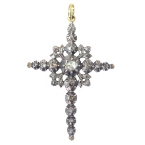 Antique diamond silver cross pendant rose cut diamonds late Georgian, early Victorian jewelry