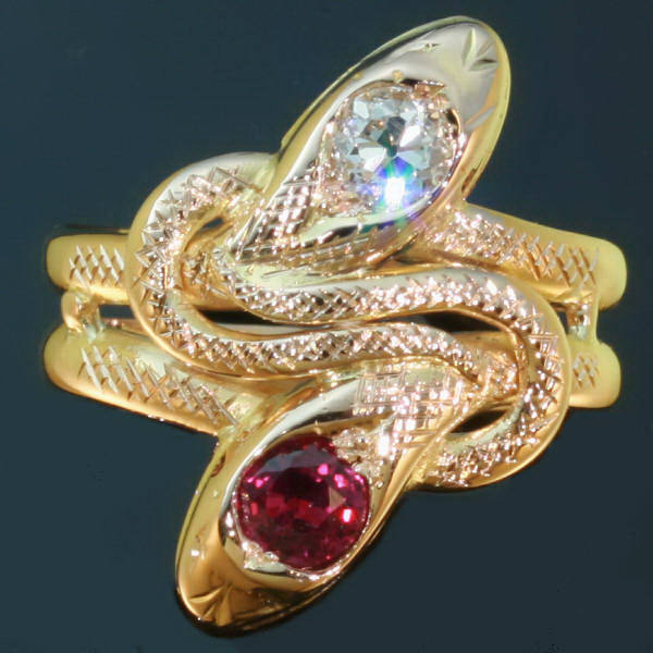 Victorian gold snake or serpent ring two headed with diamond and ruby