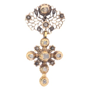 Solid gold mid 18th century cross with table cut rose cut diamonds