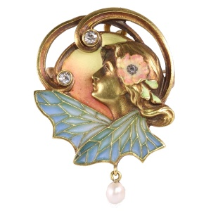 High quality Art Nouveau pendant/brooch with plique a jour enamel