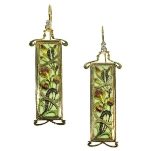 Plique ajour enamel Art Nouveau stained glass window earrings emaille a fenetre