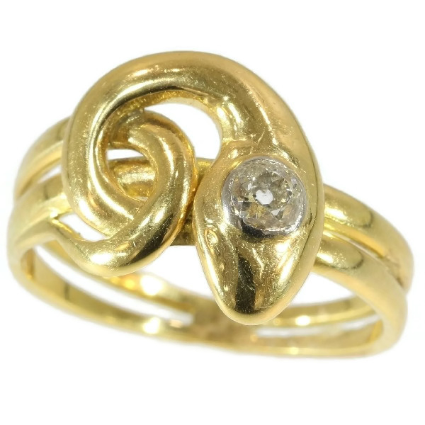 Antique diamond head snake ring 18kt yellow gold