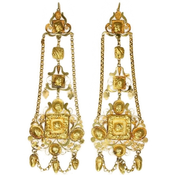 Extreme rare antique Dutch gold filigree long pendent earrings
