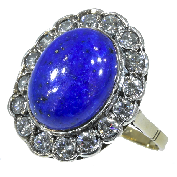 Estate engagement ring with diamond and lapis lazuli lady di style