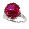 French estate platinum engagement ring with big red stone