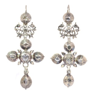 Rare Flemish cross earrings gold backed silver pendants with rose cut diamonds