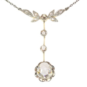 Large rose cut diamond estate pendant on chain necklace