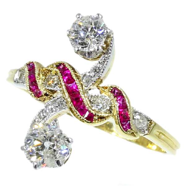 Most elegant antique ring with rubies and diamonds a so-called toi et moi