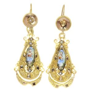 Gold Biedermeier earrings long pendant Victorian earrings with enamel