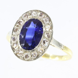 Estate diamond and sapphire anniversary or engagement ring