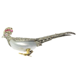 Antique French Victorian bird brooch pheasant with rubies and rose cut diamonds