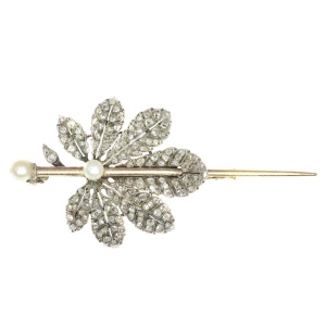 French Antique Victorian brooch chestnut leaf completely diamond covered