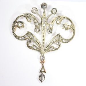 Victorian silver gold backed brooch set with rose cut diamonds