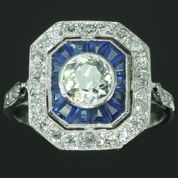 Super Vintage Opal And Sapphire Ring Amp Kh31