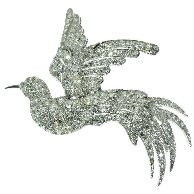 Estate diamond brooch from the fifties bird of paradise