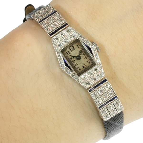 Art Deco platinum ladies wrist watch with diamonds and sapphires