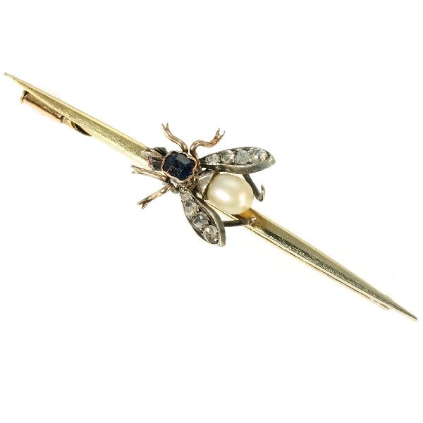 Vintage gold bar brooch with bejeweled fly