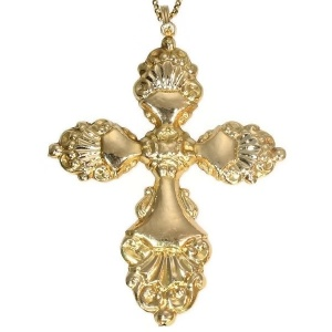 Antique cross pendant with extraordinary long antique gold chain