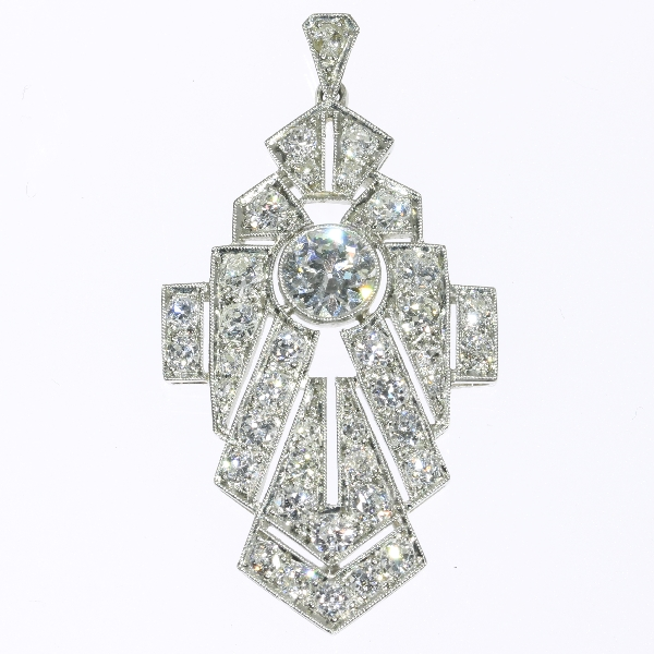 Strong design platinum and diamonds Art Deco pendant