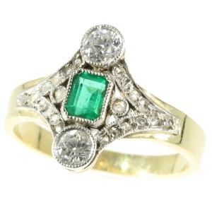 Late Victorian diamond and emerald engagement ring
