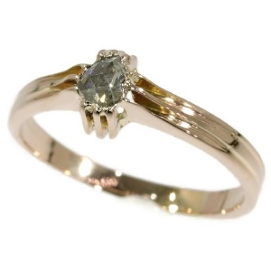 One stone foil set diamond mans ring