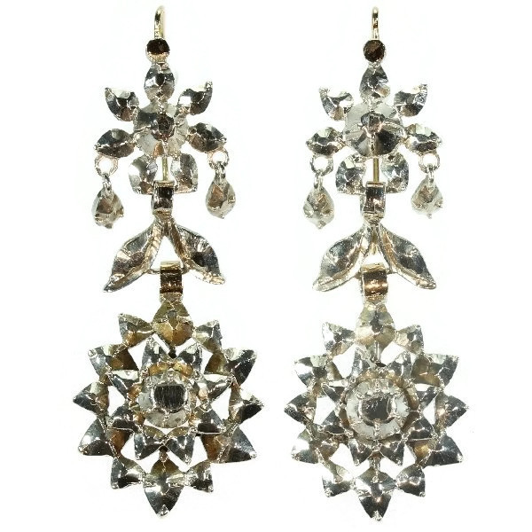 Antique long pendant earrings with rose cut diamond