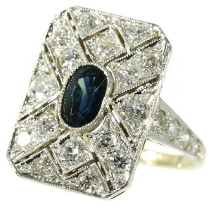 Diamond and sapphire Art Deco engagement ring
