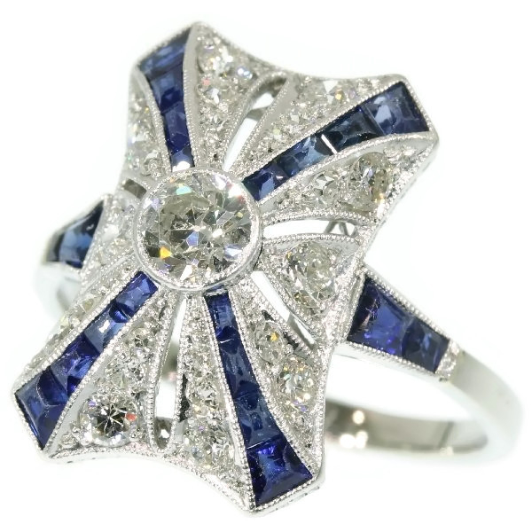 Marvelous Art Deco Belle Epoque antique engagement ring diamonds and sapphires