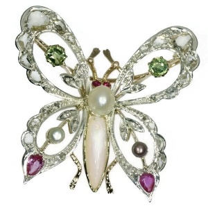 Vintage bejeweled butterfly brooch