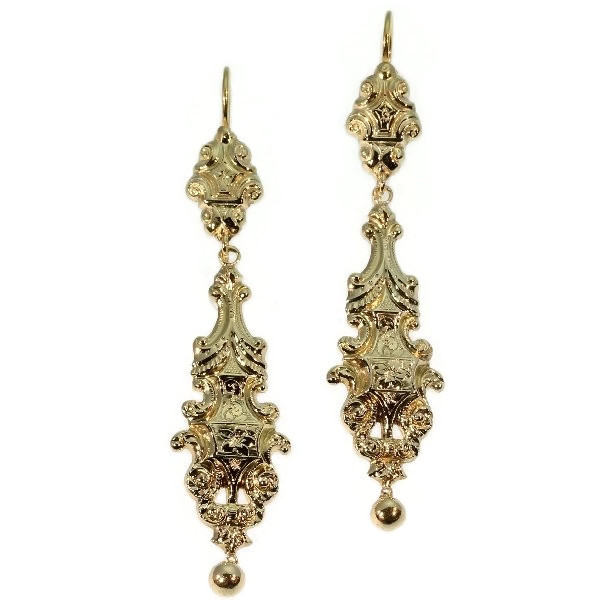 Long pendant Victorian gold earrings