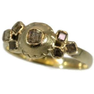 French antique diamond ring made in Tours France mid 18th Century