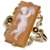 Victorian antique ring pink gold stone cameo angel