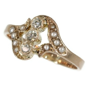 Antique diamond ring pink gold with seed pearls