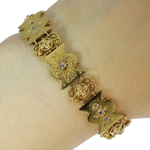 Antique Bracelet Gold Victorian Diamond