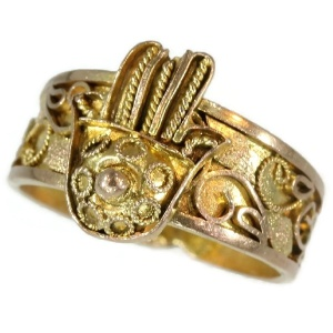 Antique ring from empire era gold filigree hand of fatima