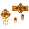 French Early Victorian antique parure brooch earrings bracelet enameled gold