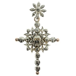 Antique Victorian Flemish cross with rose cut diamonds