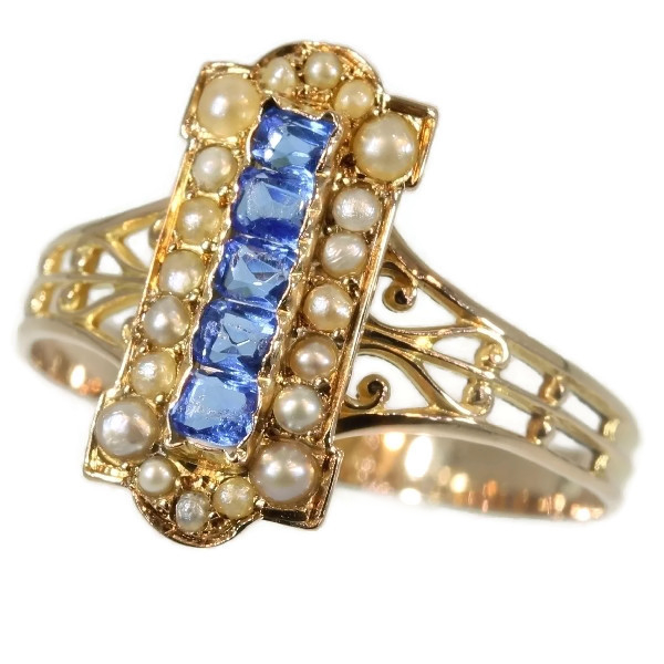 Victorian gold antique ring with blue strass and half seed pearls