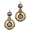 Antique pendent earrings Victorian with enamel engraved amethyst and seed pearls