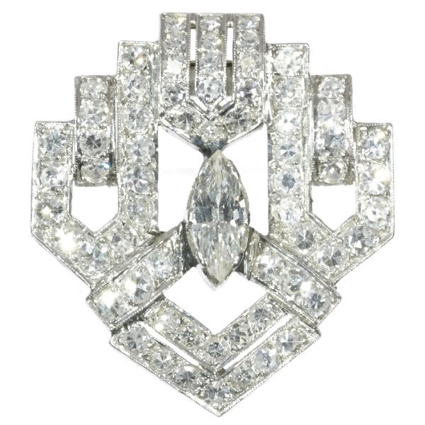 Stunning Art Deco diamond clip brooch