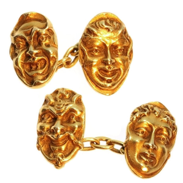 Antique cufflinks French 18K yellow gold mask