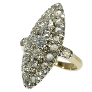 Antique ring marquise shaped set with rose cut and old european cut diamonds