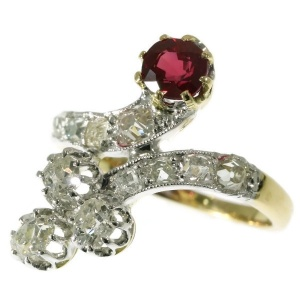 Late Victorian crossover ring with diamonds and ruby