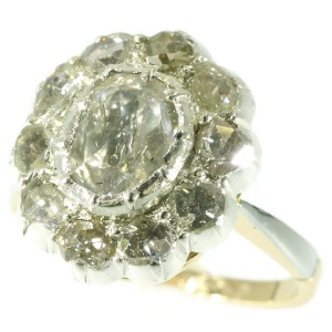 Vintage diamond cluster ring with big rose cut diamond
